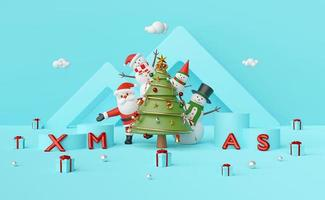 Merry Christmas and Happy New Year, Santa Claus and Snowman at Christmas tree with podium on a blue background, 3d rendering photo