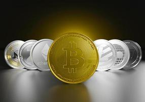 Crytocurrencies set by golden bitcoin leader of digital currency asset of symbol coins photo