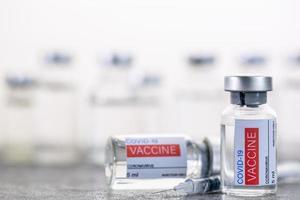 Vaccine bottle 5 ml for prepare send to hospital. photo