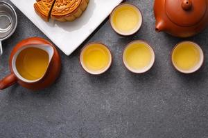 Chinese traditional festival mood cake with tea photo