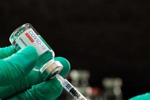 Syringe  prepare for inject dose to people prevent covid 19. photo