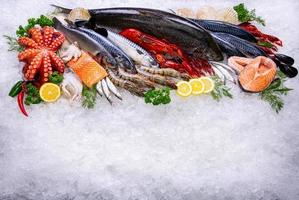 Seafood raw material with overhead view photo