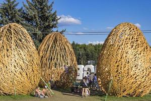 budapest, hungría, 17 de agosto de 2014 - personas no identificadas en el festival sziget en budapest. El festival sziget es uno de los festivales culturales y musicales más importantes de Europa y se celebra cada agosto en budapest. foto