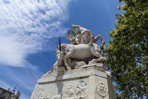 MONTPELLIER, FRANCE, JULY 13, 2015 - La fontaine des Licornes in Montpellier, France. Fountain was made  in 1773 by the sculptor Etienne d'Antoine. photo