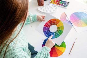 Designer or artist working with color samples and color wheel high angle view photo