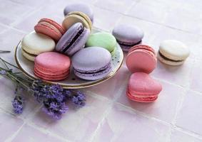 French macarons with different flavors photo