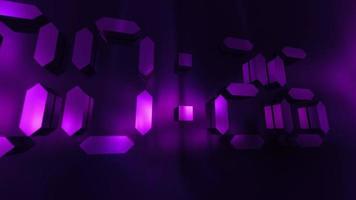3D purple light 30 to 0 second digital countdown video