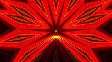 ornamento fractal degradado rojo amarillo neón sobre fondo negro. caleidoscopio video