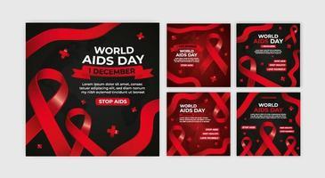 plantilla de colección redes sociales día mundial del sida vector