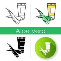 Organic cream icon. Plant based lotion. Gel with aloe vera extract. Natural cosmetic. Organic shampoo. Product with medicinal herbs. Linear black and RGB color styles. Isolated vector illustrations