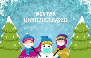 niños jugando bola de nieve en el fondo de invierno vector