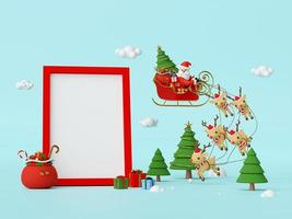 Scene of Santa Claus on a sleigh full of Christmas gifts and pulled by reindeer with blank space in frame, 3d rendering photo