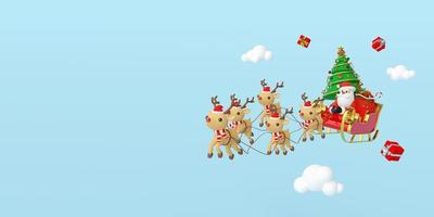 Scene of Santa Claus on a sleigh full of Christmas gifts and pulled by reindeer, 3d rendering photo