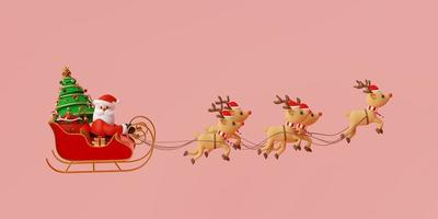 Merry Christmas and Happy New Year, Santa Claus on a sleigh full of Christmas gifts and pulled by reindeer, 3d rendering photo