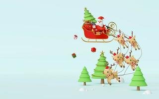 Scene of Santa Claus on a sleigh full of Christmas gifts and pulled by reindeer on a blue background, 3d rendering photo