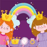 princesses tale cartoon with crown mirror rainbow and ring vector