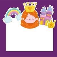 princess tale castle rainbow crown cartoon card template vector