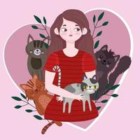 young woman with different cats in heart love pet cartoon vector
