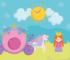 princess tale girl with crown carriage unicorn sun sky cartoon vector