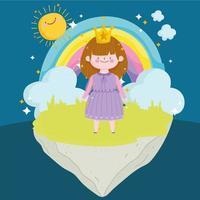 princess tale with crown rainbow clouds sun magic cartoon vector