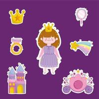 princess tale cartoon girl with crown ring mirror ring stickers icons vector