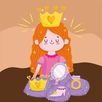 princess tale cartoon cute girl with crown mirror shoe and ring fantasy vector
