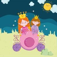princesses tale with crown on carriage cartoon vector