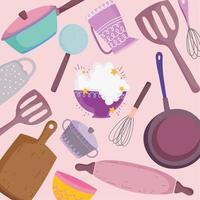 utensilios de cocina cubiertos cocina espátula tablero rodillo olla cacerola antecedentes vector