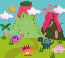 cute dinosaurs in wild nature vector
