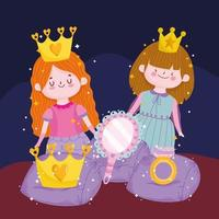 princesses with crown mirror ring magic tale cartoon vector
