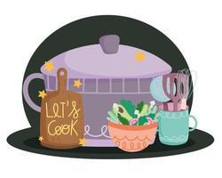 Tabla de cortar cubiertos de olla de cocina y ensalada en letras de estilo de dibujos animados vector