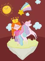 princess tale with crown unicorn star and sun cartoon vector