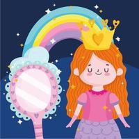 princess tale cartoon girl with crown rainbow and mirror magic vector