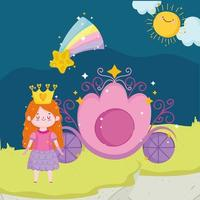 princess tale cartoon girl with crown carriage shooting star sky vector
