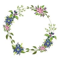 flowers delicate nature decoration circle border, painting design vector