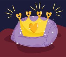 princess tale cartoon gold crown on cushion decoration vector