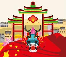 chinese dragon gate vector