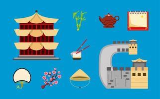 chinese cartoon set vector