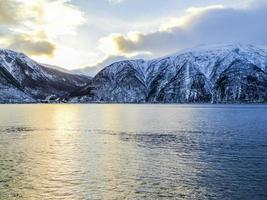 Winter landscape and morning time sunrise at Sognefjord Norway. photo
