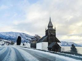 Norwegian Church Kyrkje in Leikanger, Sogndal, Norway. photo