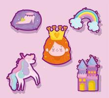 princess tale cartoon cute sticker girl crown unicorn castle shoe vector