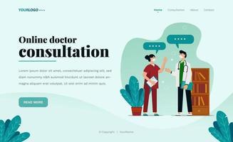 Plantilla web de página de destino, con ilustración de médico, planta y estantería. vector