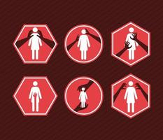 seis artículos de violencia sexual vector