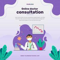 Social media post template, with illustration character, book, plants and statistic vector