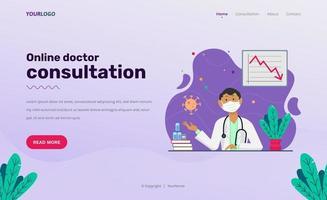 Landing Page web template, with illustration character, book, plants and statistic vector