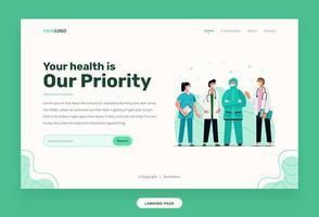 La plantilla web de la página de destino, el personaje de ilustración con el equipo médico se puede utilizar para impresión, infografía, presentación. vector