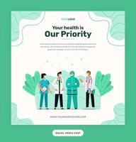 Social media post template, illustration character with the medical outfit can be used for print, infographic, presentation vector