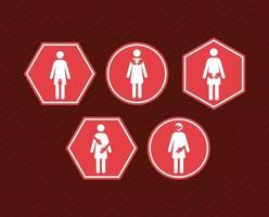 cinco elementos de acoso sexual vector