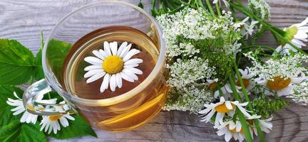 Chamomile aromatic tea in a glass cup on a wooden background. Floral banner. Summer still life with wildflowers and medicinal herbal drink. photo