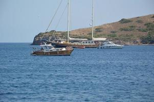 BODRUM, TURKISH - JULY 02, 2020 Yachts parked in the marina photo